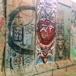 Pieces of the Berlin Wall at the Newseum.