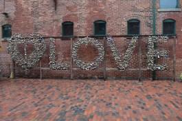 """Love"" lock sculpture in the Distillery District"