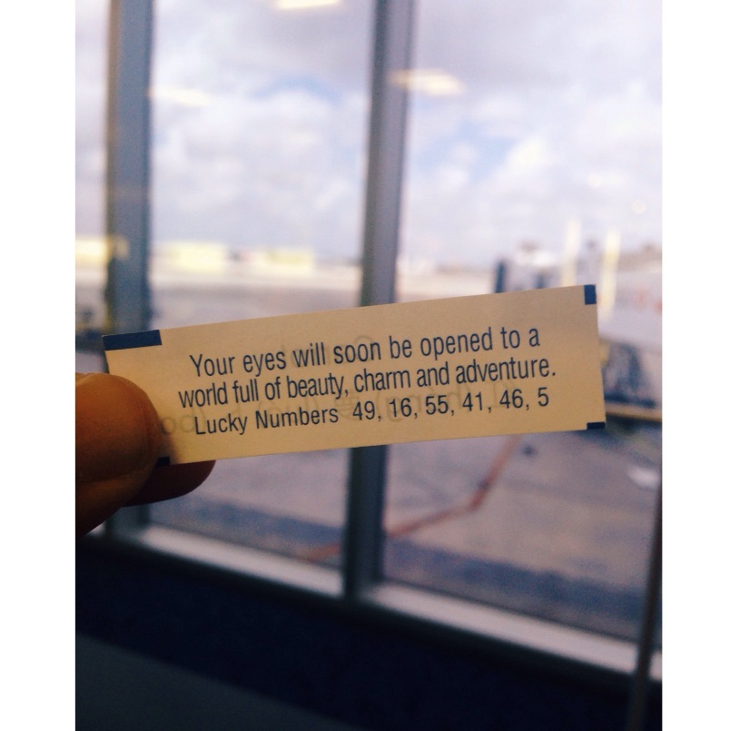 Before heading to the airport, I had lunch at Pei Wei with my mom...and I got this weirdly relevant fortune.