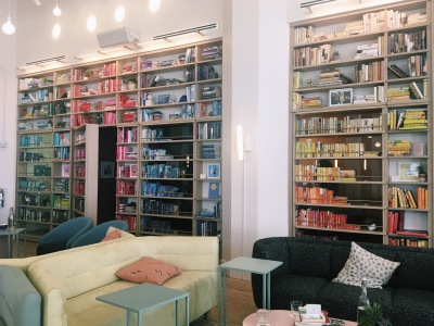 Distractingly beautiful bookshelves at The Wing workspace in DUMBO, Brooklyn