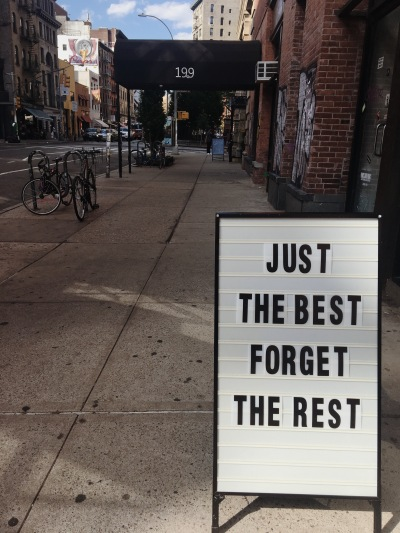 One of many charming signs in SoHo